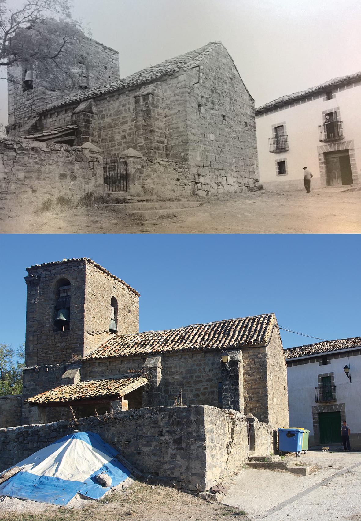 """Ozcoidi es una localidad del valle de Urraul Alto, en la Merindad se Sangüesa. Esta zona es una de las más despobladas de Navarra, a ambas fotos les separan algo más de 40 años, en la de abajo, Ignacio Induráin y en la de arriba sus abuelos. """"Hace unos 70 años, había unas siete u ocho familias y había escuela, e incluso una taberna. Ahora, tan sólo una familia""""."""