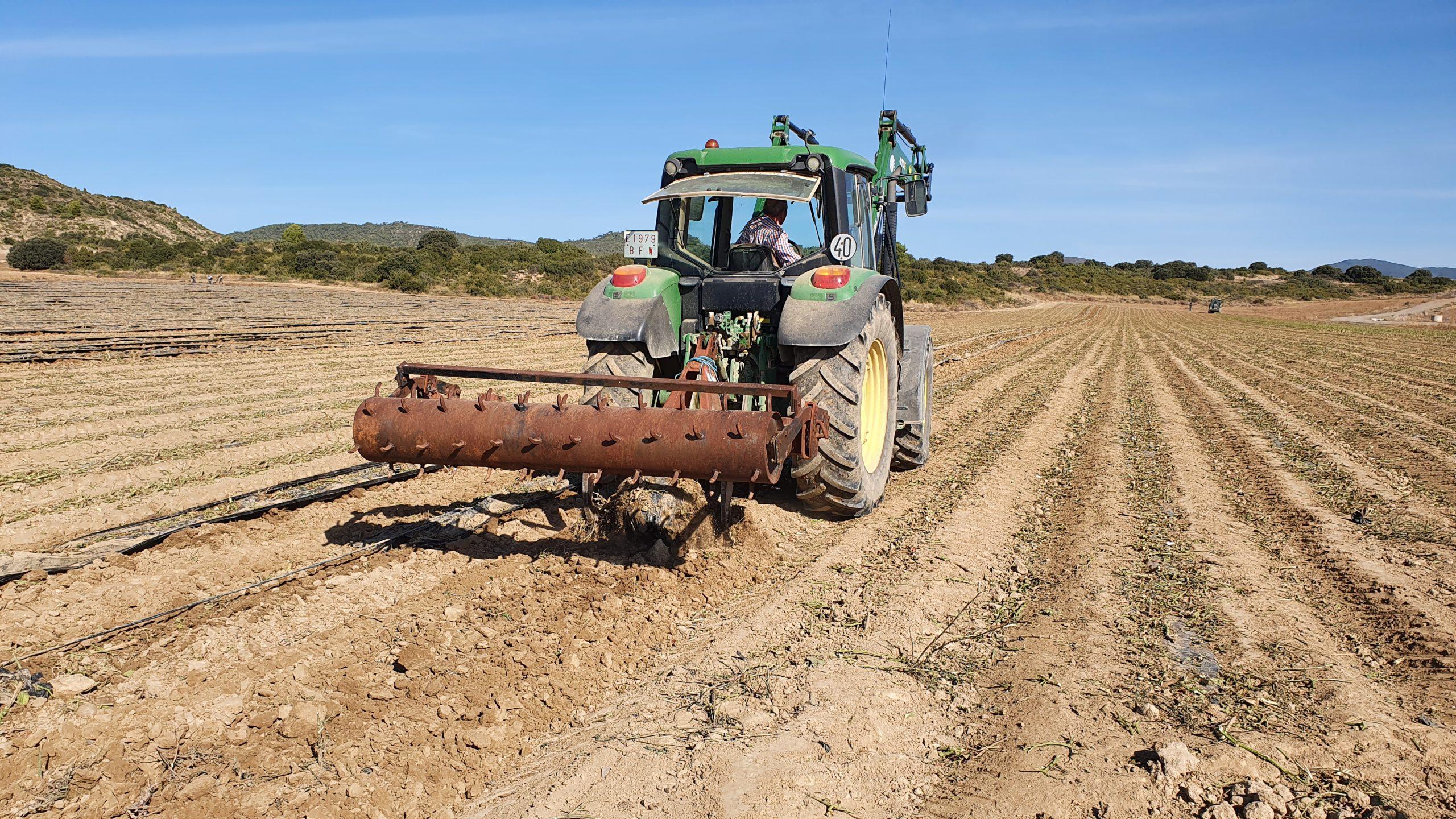 Una vez cosechado el cultivo y realizado el tratamiento inicial de los restos  vegetales, se lleva a cabo el desbroce de los restos vegetales y pasada de apero para levantar el plástico íntegramente