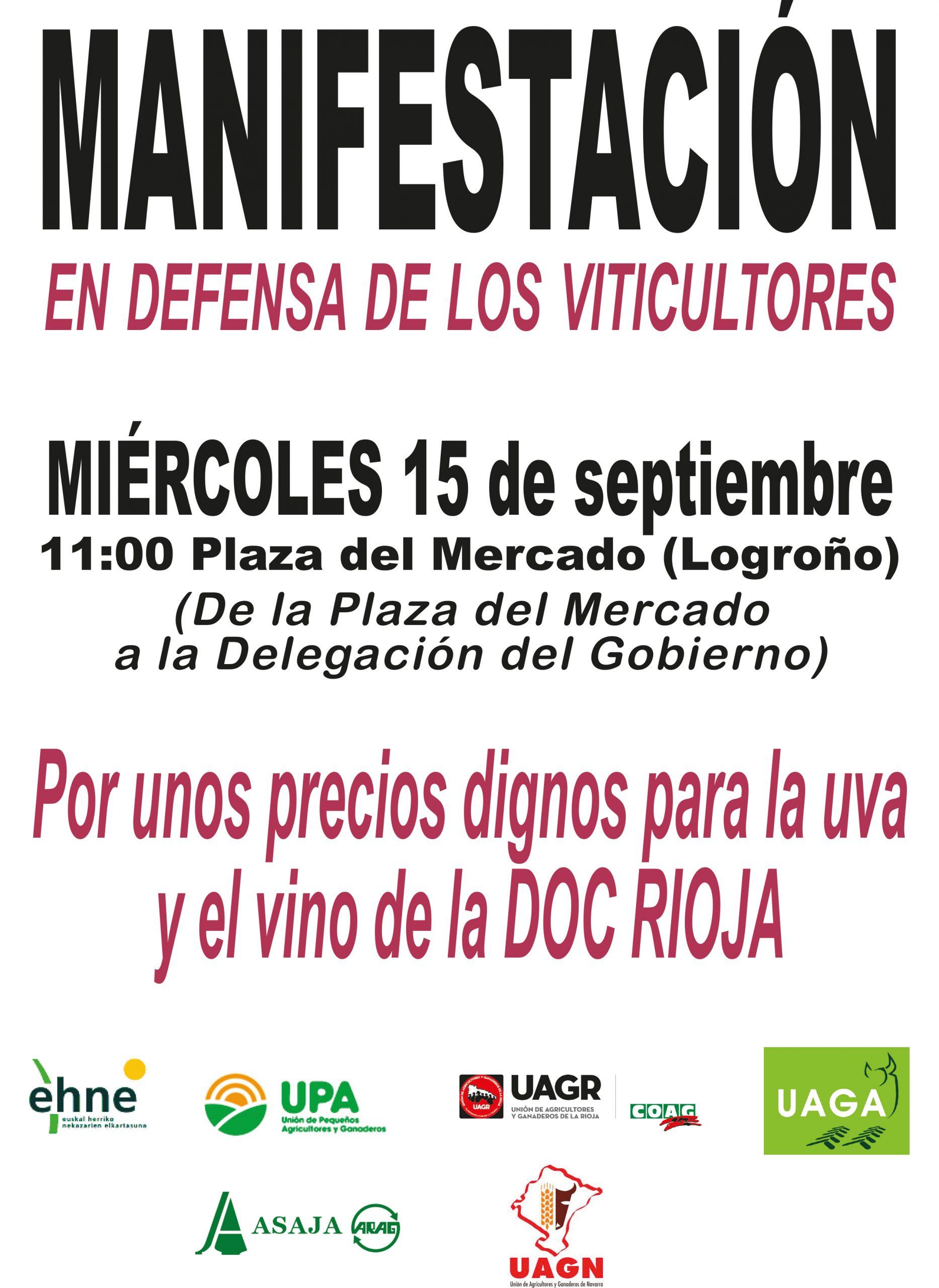 Manifestación en defensa de los viticultores